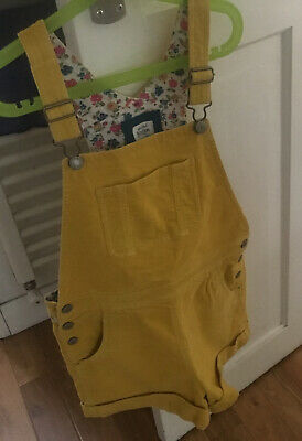 MINI BODEN SHORTS DUNGAREES Yellow Mustard Cord Age 9 10 Liberty Lined Florals • 10.60£