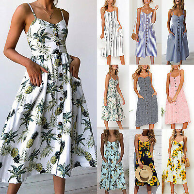 Women Holiday Beach Midi Dress Summer Strappy Casual Button Pockets Sun Dresses • 14.19£