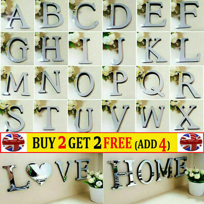 Alphabet 3D Acrylic Mirror Wall Stickers 26 Letters Heart Decor Wedding Party • 2.15£