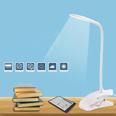 LED USB Clip-on Reading Light Clamp Table Lamp /Study/Bed/Laptop/Desk Flexible • 8.59£