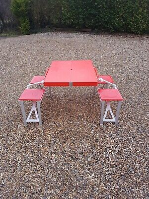 Outsunny Picnic Table Garden Foldable Portable 4 Chair Stool Camping Party Table • 29.99£