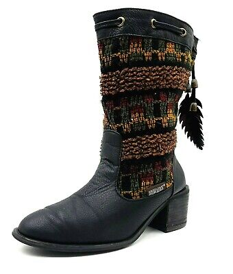 £14.14 • Buy Mukluks Womens Size 7 Black Aztec Mid-Calf Boots Indian Feathers Slip On WPL6134