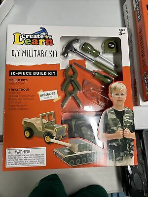 Create & Learn Kids DIY Military Project Kit With Real Tools & Camo Vest • 10.73£