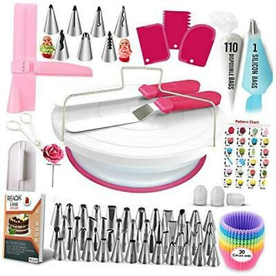 £22.11 • Buy 200 Pcs Cake Decorating Supplies Kit For Beginners-1 Cake Turntable Stand With