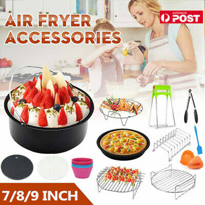 AU30.09 • Buy 7/ 8/ 9 Inch Air Fryer Accessories Rack Cake Pizza Oven Barbecue Frying Pan Tray