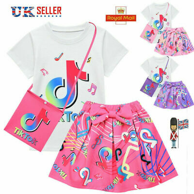 Pleated Rainbow Bag Girls T-shirt Dress Tik Tok Kids Lots Outfits 3pcs Set Skirt • 12.47£