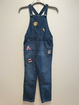 Girls Omg Patchwork Blue Denim Skinny Overall Ripped Dungarees Uk Age 10 W24 L22 • 11.99£