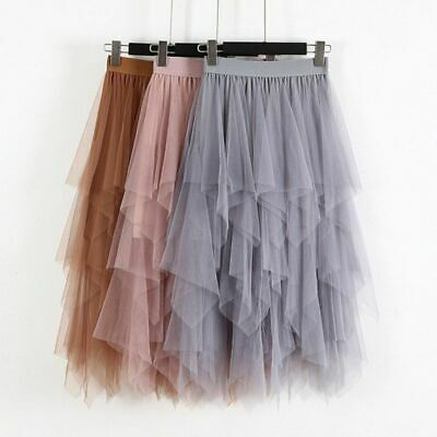 Women Ladies Elastic High Waist Tulle Tutu Skirt Mesh Net Solid Layered Dress • 14.99£
