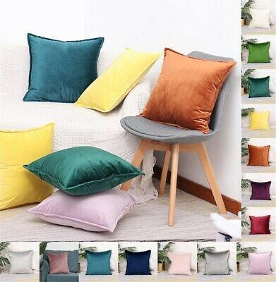 UK Plain Velvet Soft Luxury Cushion Cover Pillow Case Sofa Car Home Decor  • 7.49£