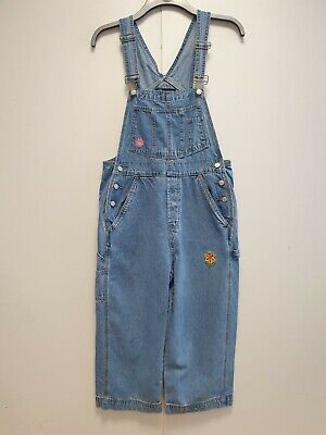 Girls No Boundaries Blue Baggy Vintage Denim 3/4 Dungarees Age 10-12 W26-28 L19 • 11.99£