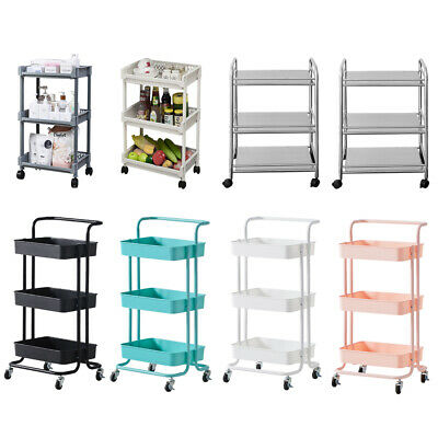 £24.99 • Buy Kitchen Trolley With Wheels Storage Rack Dining Room Bathroom Kitchen Carts NEW