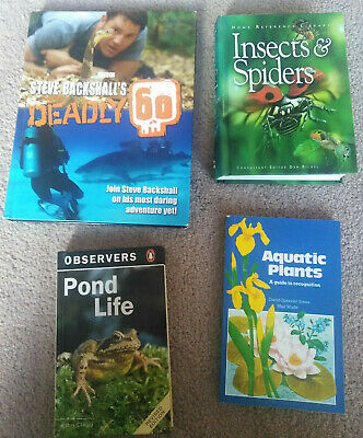 Four Assorted Nature Books Deadly 60 Pond Life Aquatic Plants Insects & Spiders • 5.50£