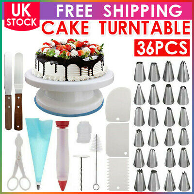 £14.49 • Buy Cake Decorating Turntable Set Tools Nozzles Mould Stainless Steel Spatula 11 In