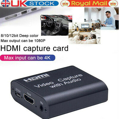 HD 4K 1080P 60fps HDMI Video Capture Card USB 2.0 Mic Game Record Live Streaming • 13.59£