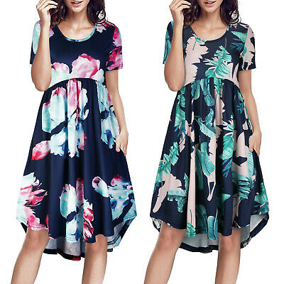 Women Summer O Neck Boho Chiffon Floral Beach Sundress Casual Loose Midi Dress • 6.99£