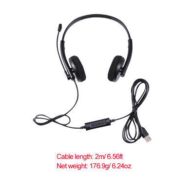 USB Headphones With Microphone Noise Cancelling Headset For Skype Laptop • 9.99£