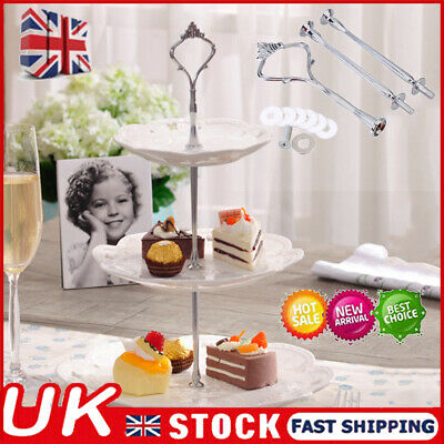 £4.24 • Buy Set Of 3 Tiers Cake Plate Stand Handle Fitting Party Crown Rod DIY UK