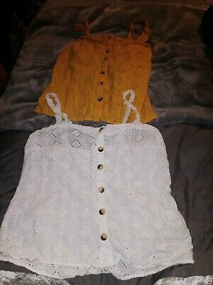 2x Matalan Papaya Ladies Cami Set Yellow White Broderie Size 12  • 4£