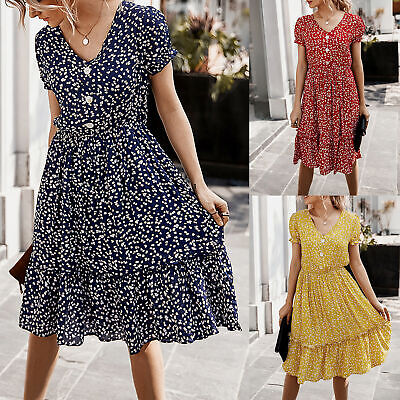 Women Holiday Polka Dot Button Down Midi Dress Ladies Summer V Neck Midi Dresses • 13.99£