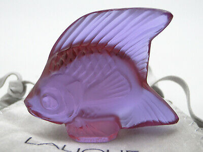 Lalique France Art Glass Angel Fish Grenadine 30022 W Box & Suede Pouch Signed • 46.09£