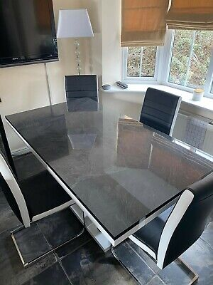 Marble Dining Table Black/White With 4 Chairs Excellent Condition Complete Set • 299£