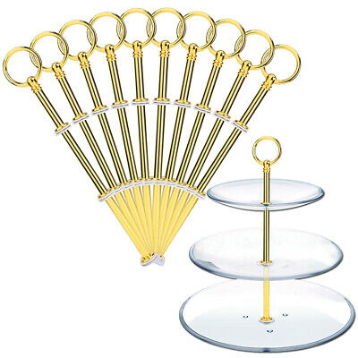 £11.49 • Buy 10 Set 3 Tier Mini Cake Plate Stand Handle Rod Fittings Round Ring Top Gold
