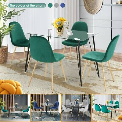 AU194.95 • Buy Modern Dining Table Dining Chair Kitchen Glass Table Velvet Chair With Metal Leg