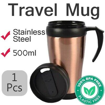AU13.68 • Buy Insulated 500ml TRAVEL MUG Cup Coffee Tea Stainless Steel Interior With Handle