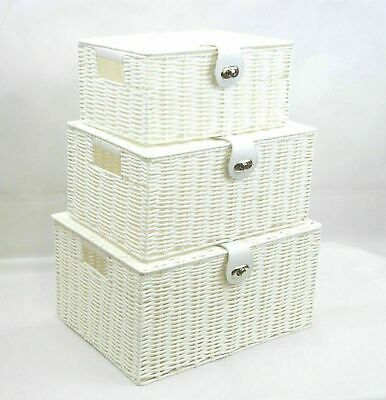Set Of 3 Storage Baskets Organiser Hamper Resin Woven Box With Lid&Lock UK# • 16£