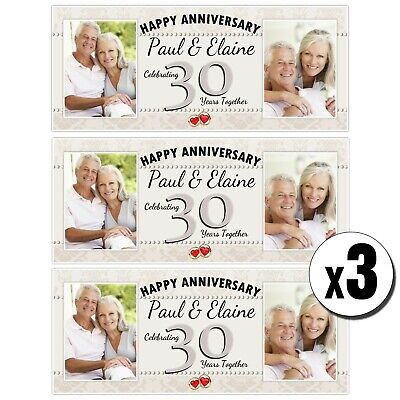 3 Personalised 30th Pearl Wedding Anniversary Photo Banners N41 • 14.99£