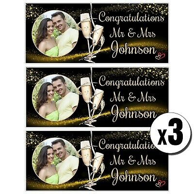 3 Personalised Congratulations Photo Banners N44 Wedding Anniversary Engagement • 14.99£