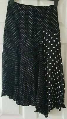 Whistles Black White Polka Dot Asymmetrical Skirt Size UK 6 • 4£