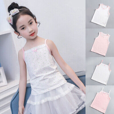 Baby Girls Lace Bowknot Seamless Underwear Tank Top Summer Casual Cotton Vest • 4.19£