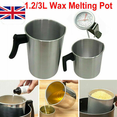 Wax Melting Pot Pouring Pitcher Jug Aluminium Candle Soap Make Thermometer UK • 5.48£
