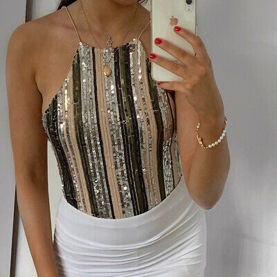 £6 • Buy New Look Nude Khaki And Silver Sequin Mesh Bodysuit Size 6