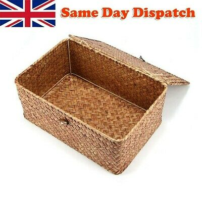 Large Wickers Storage Basket Box With Lid & Lock Woven Wicker Landry Hamper • 9.88£