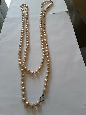 Lovely Long Retro Creamy Glass Faux Pearl  Necklace. 44   • 1.04£