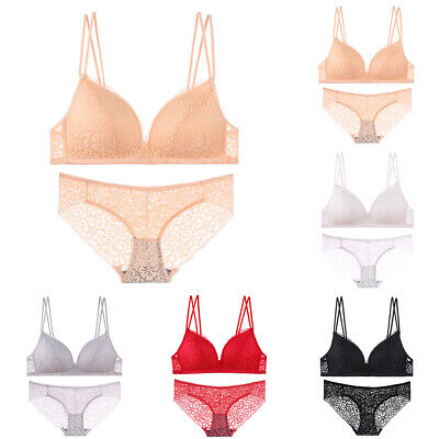 Womens Sexy Lingerie Underwear Set Lace Top Bra Thong Brassiere Push Up Outfit • 9.29£