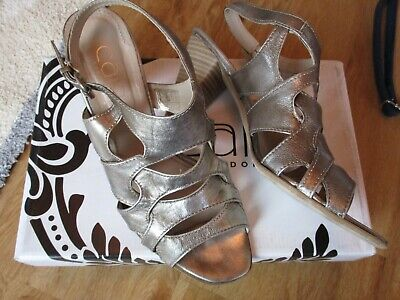 Cara London Ladies Party Shoes Pewter Leather Heels Sandals Size 5 Eur 38 Boxed • 19.99£