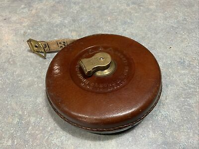 £30 • Buy Vintage Leather Tape Measure Hockley Abbey By John Rabone & Sons  66 Ft No.260