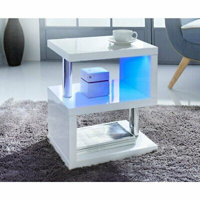 £38.99 • Buy Coffee End Table Side TV Sofa Stand Living Room Office Furniture High Gloss +LED