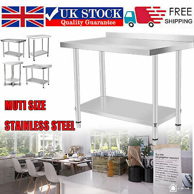 Kitchen Benches Work Bench Food Prep Table Catering Table Top 2-4ft +Under Shelf • 98.69£