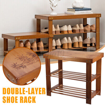 AU30.99 • Buy Bamboo Shoe Bench Stool Shelf Cabinet Wooden Shoes Rack Stand Storage Organiser