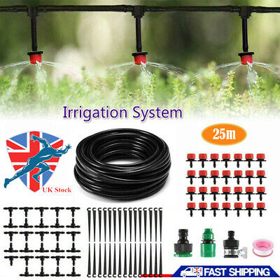 Micro Drip Irrigation System Set 82ft Hose Plant Self Watering Garden Tools UK • 10.86£
