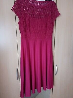 Dress With Lace Top And Fitted Camisole, Fuschia, Size 10, Hidded Side Zip • 3.80£