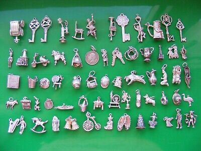 £9.99 • Buy I) VINTAGE STERLING SILVER CHARMS CHARM TRAIN CAP EROS CAR HORSE EMU BOOT 21 18
