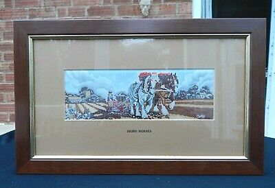 Cash's (Coventry) Woven Silk Picture SHIRE HORSES 13.5  X 8.25  - Vintage/Framed • 18£