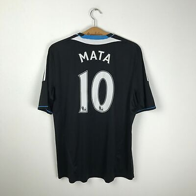 Chelsea Away Football Shirt 2011/2012 #10 Mata Soccer Jersey Black Adidas Size L • 35.80£