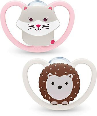 £6.59 • Buy NUK 2pcs Space Baby Dummy / 0-6 Months / Soothers / BPA-Free Silicone / Cat & He