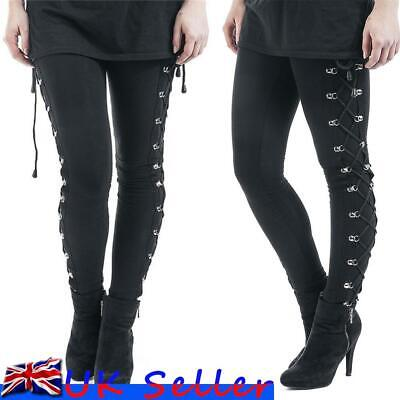 Womens Vintage Lace Up High Waist Gothic Punk Trousers Skinny Legging Long Pants • 11.59£